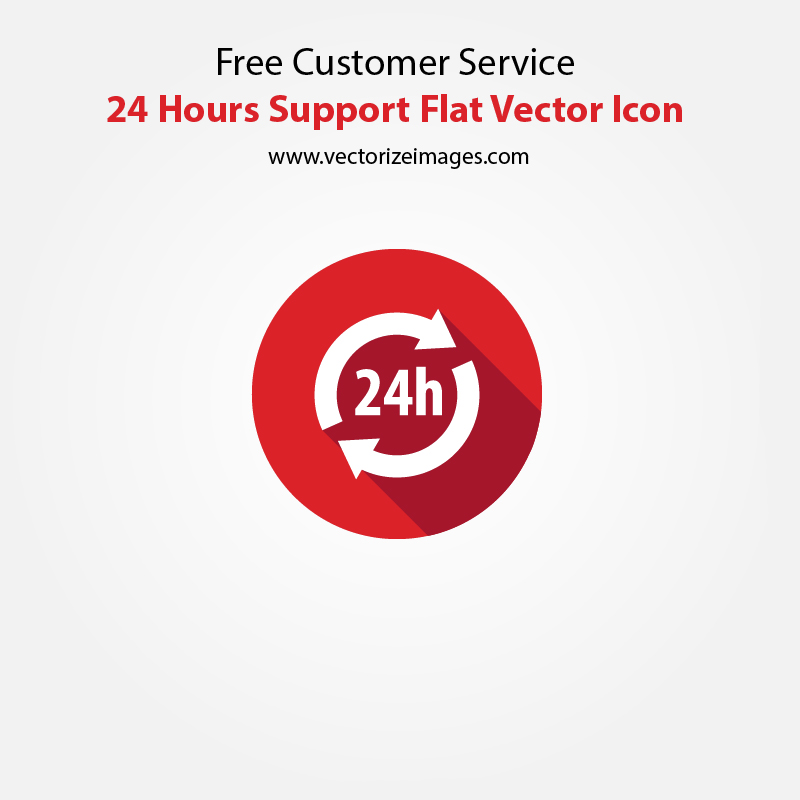 Free Customer Service 24 Hours Support Flat Vector Icon