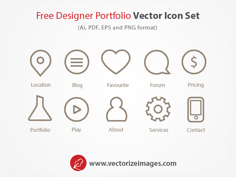 Free Designer Portfolio Vector Icon Set