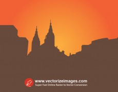 Catholic Church Silhouette Vector Art
