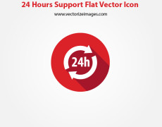 24 Hours Support Flat Vector Icon
