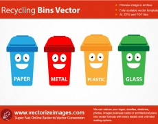 Recycling Bins And Containers Vector Art