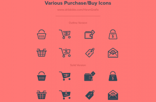 Various outline purchase icons