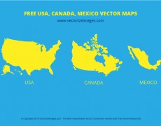 Free USA Canada Mexico Vector Maps