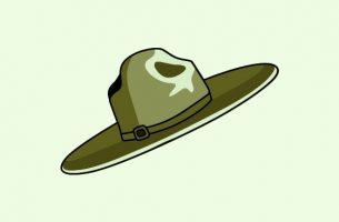 Green slouch hat vector